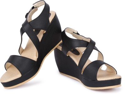 Cute Feet Women Black Wedges
