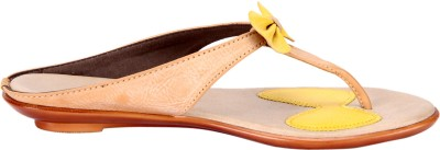 Awssm Women Beige, Yellow Flats