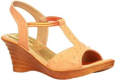 Bata Women Gold Wedges