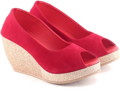 Cenizas Plate of Gold Women Red Wedges
