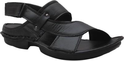 Leather Soft Men Black Sandals