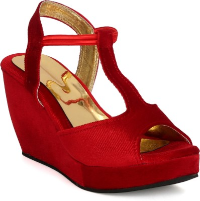 Tic Tac Toe Women Red, Red Wedges