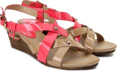 Plosh Women Pink, Beige Wedges