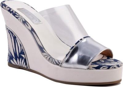 Zaera Women Silver, Blue, White Wedges