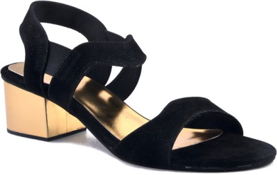 Zaera Women Black, Gold Heels