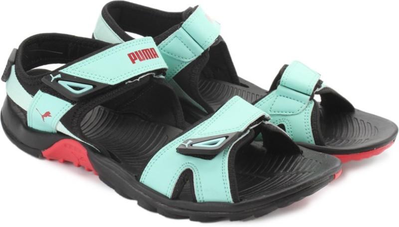 Puma Women blk-green- barberry Sports Sandals
