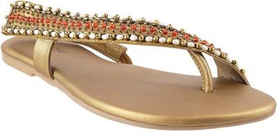 Mochi Fancy Women Gold Flats