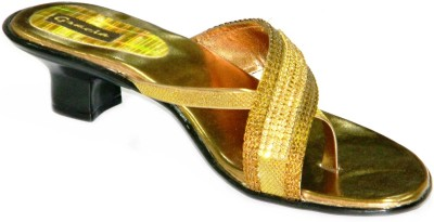 Gracia Party and Ethnic Wear Women Brown, Gold Heels