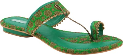 Ncollections Women Green, Gold Flats