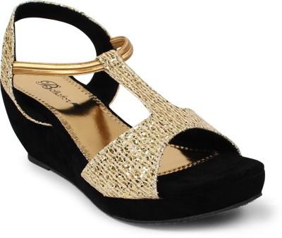 Bellafoz Women Gold, Black Wedges