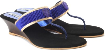 Bonjour Women Blue, Gold Wedges