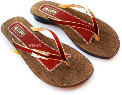 Wemex Women Red, Brown Flats