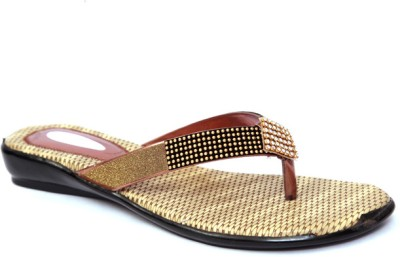 Laila Collections LATE005040BEW Women Gold Flats