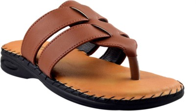 SUPREME LEATHER Men Tan Sandals