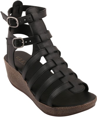 Glety Women Black Wedges