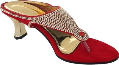 Bare Soles Women Red, Gold Heels