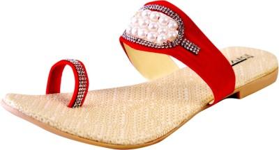 New Divas Women Red Flats
