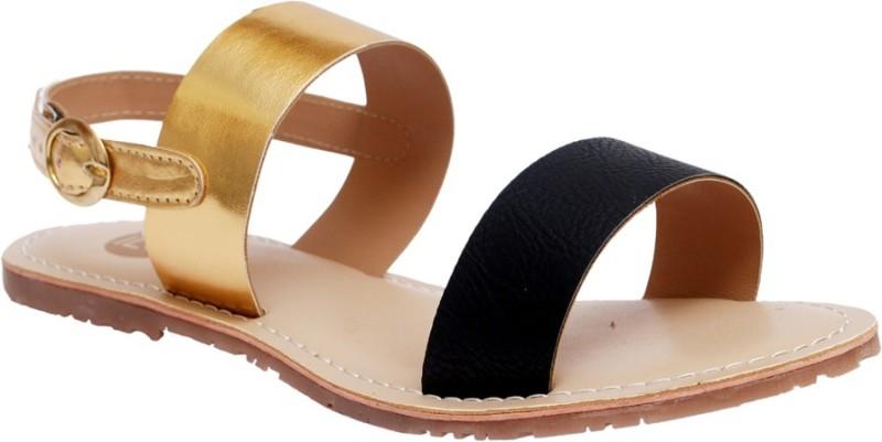Ilo Women Gold, Black Flats