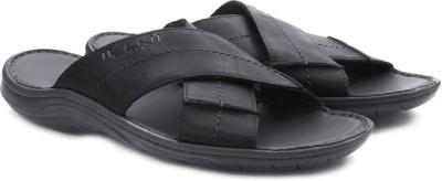 Clarks Woodlake Cross Black Leather Men Black, Blue Sandals