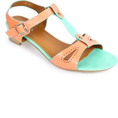 Starchi Women Green, Orange Heels