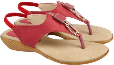 Comfort Stylish Women Red, Beige Wedges