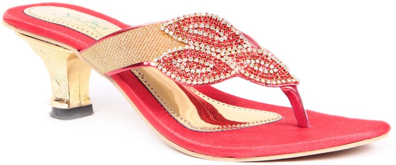 Sindhi Footwear Ethnic Women Red Heels