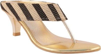 Liza Women Black, Gold Heels