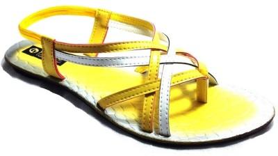 Senso Vegetarian Chic Black Ankle Length Sandals Women Yellow Flats