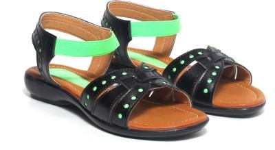 Craze Shop Baby Girls Black, Green Sandals