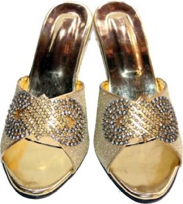 Skyla Women Gold, Silver Heels