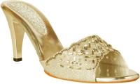 Pantof Women Gold Heels