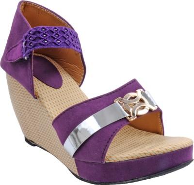 Bee Fashionable Girls Purple Wedges