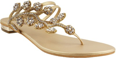 Mochi Women Gold Flats