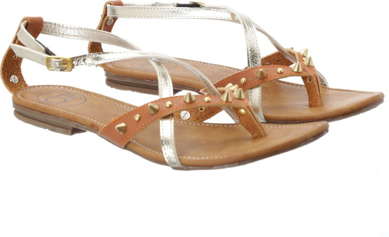 Ilo Women Tan, Gold Flats
