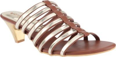 El Cisne Women Brown, Gold Heels