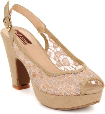 Flat n Heels Women Khaki Heels