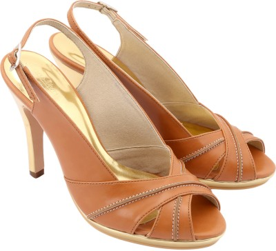 Charu- Diva Design Studio Women Gold, Tan Heels