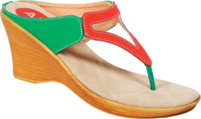 Amvi 14F983 Women Orange, Green Wedges