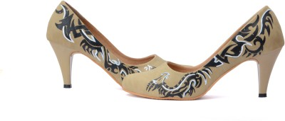 Wearmates The Dragon Phoenix Design Women Beige Heels