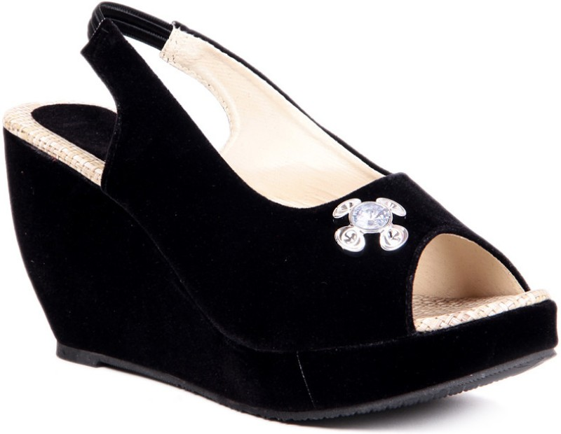 Sindhi Footwear Casual Women Black Wedges