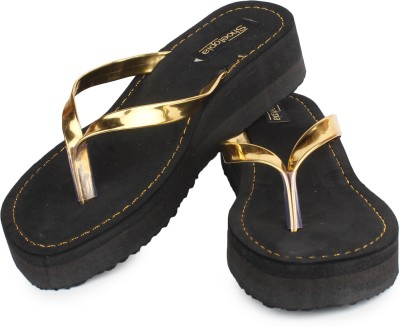 Shoetopia Women Gold Wedges