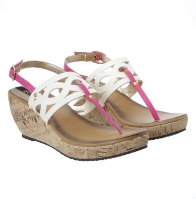 iLO Women White, Pink Wedges