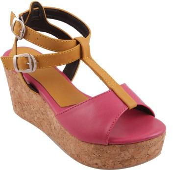 Adorn Women Pink, Brown Wedges