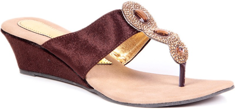 Sindhi Footwear Ethnic Women Brown Wedges