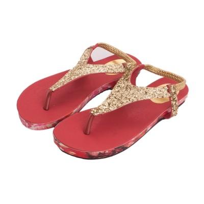 M A Enterprise Women Red, Gold Flats