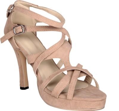 Soft & Sleek Criss Cross Cream Women Tan Heels