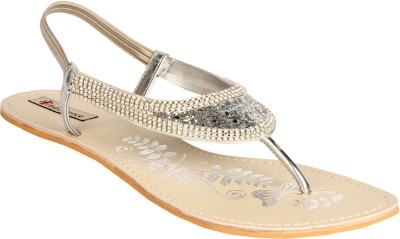 Indulgence Silver-Toned Sandals Women Silver Flats