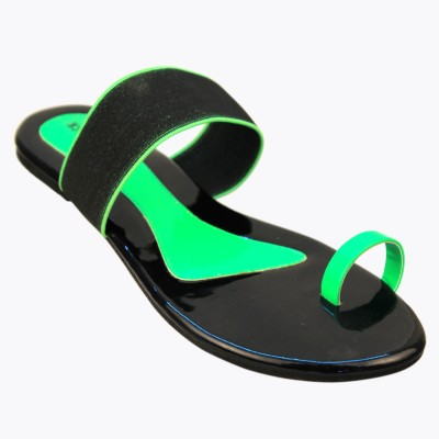 CoalBlack Women Green Flats