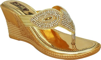 Smart Traders Women Gold Wedges