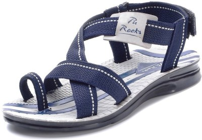 Pu-Rocks Men Grey, Blue Sandals